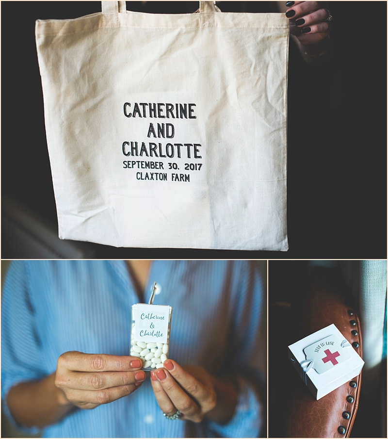 Photo of couple's welcome bags for wedding
